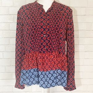 NWT Gap Floral Pintucked Peplum Popover Blouse M